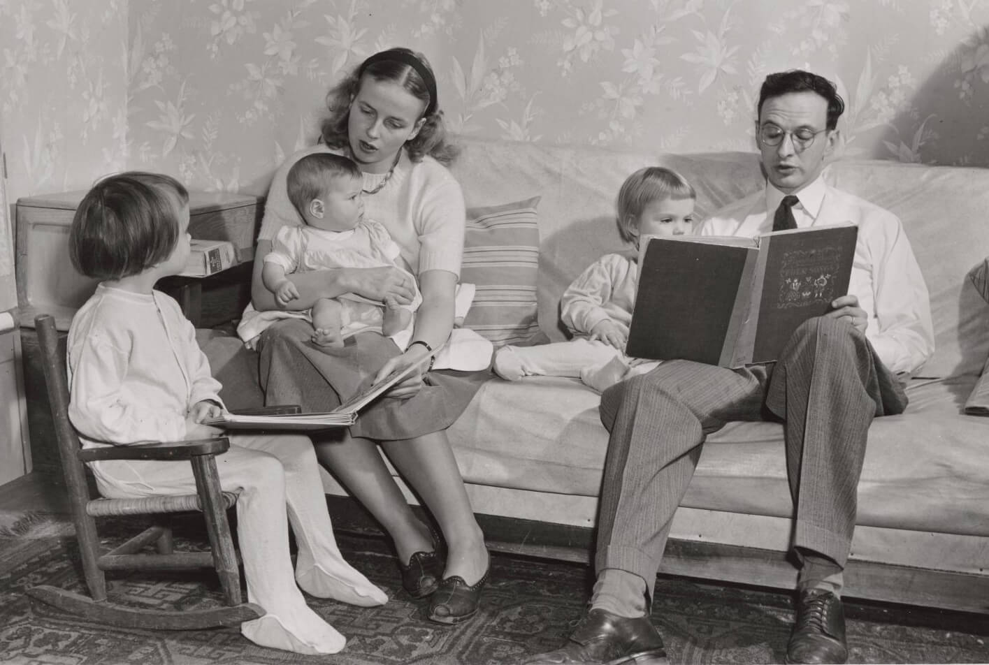 family at home in the 1950s