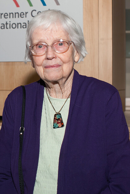 a woman with glasses